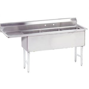 Fabricated 3 Compartment Sink, Left Drainboard, 24 x 24 x 14 Bowls, 14/304 S/S, 99 Inches