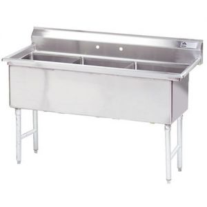 Fabricated 3 Compartment Sink, 24 x 24 x 14 Bowls, 14/304 Stainless Steel