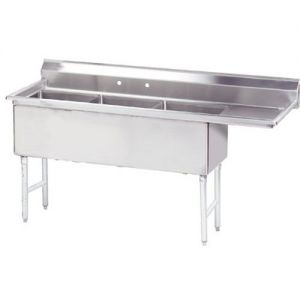Fabricated 3 Compartment Sink, Right Drainboard, 24 x 24 x 14 Bowls, 14/304 S/S, 99 Inches