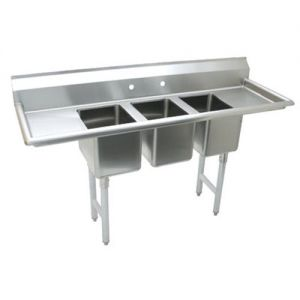 Convenience Store 3 Compartment Sink, Drainboards, 20 x 12 x 12, 18/304 Stainless Steel