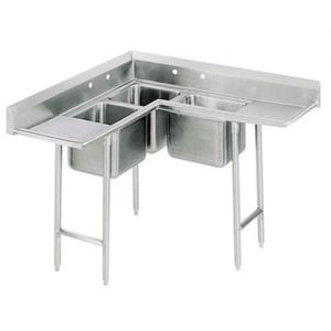 Korner Three Compartment Sink, (1) 14 x 14 x 10 Bowl, (2) 10 x 14 x 10 Bowls, 16/304 Stainless Steel