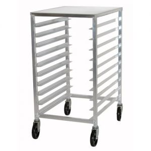 Mobile Pan Rack with Aluminum Top, Holds 10 Full Size Sheet Pans