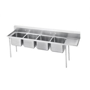 Regaline Four Compartment Sink, 28 x 20 x 12 Bowls, Right Drainboard, 18/304 S/S, 129 Inches
