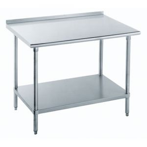 18 Gauge 30 x 72 Stainless Steel Economy Work Table with Undershelf and 1-1/2 Backsplash