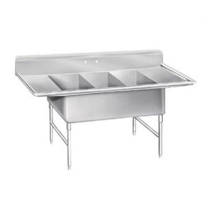 Super Size Fabricated Three Compartment Sink, 30 x 30 x 14 Bowls, 16/300 Stainless Steel