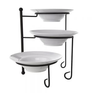 Round Three-Tier Foldable Stand Set With 3 Melamine Bowls
