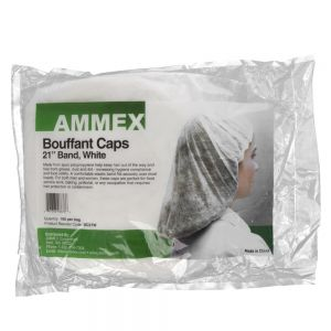 Ammex BC21W Disposable Bouffant Caps - Pack of 100
