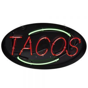 Neon Sign, Flashing Tacos Sign, Green and Red