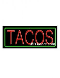 Neon Sign, Tacos Sign, Green and Red