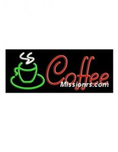 Neon Sign, Coffee Sign, Green, Red and White