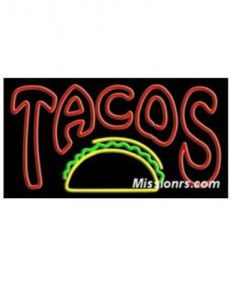 Neon Sign, Tacos Sign, Green, Red and Yellow
