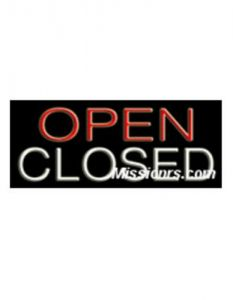 Neon Sign, Open/Closed Sign, Red and White