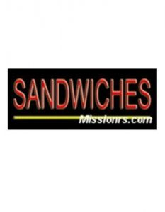 Neon Sign, Sandwiches Sign, Red and Yellow