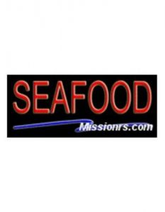 Neon Sign, Seafood Sign, Blue and Red