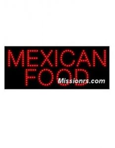 LED Sign, Mexican Food Sign, Red