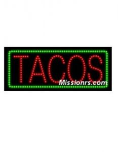LED Sign, Tacos Sign, Green and Red
