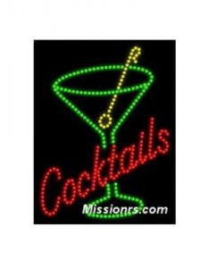 LED Sign, Cocktails Sign, Green, Red and Yellow
