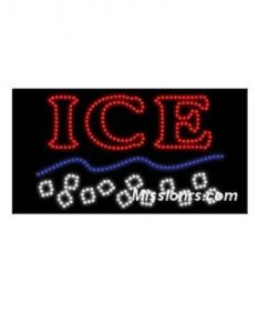 LED Sign, Ice Cube Sign, Red, White and Blue