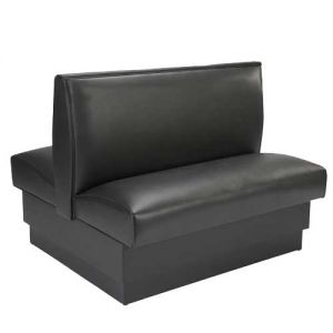 Double Booth, Plain Vinyl, Black, 36 Inch Back