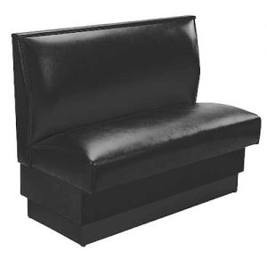 Single Booth, Plain Vinyl, Black, 36 Inch Back