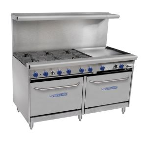 Vantage Series Commercial Range – 6 Burners, 2 Ovens, 24 Inch Raised Griddle