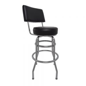 Swivel Barstool w/ Black Vinyl Seat and Back