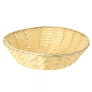 Woven Food Basket, Round Woven Basket, 8 x 2-1/4 Inches
