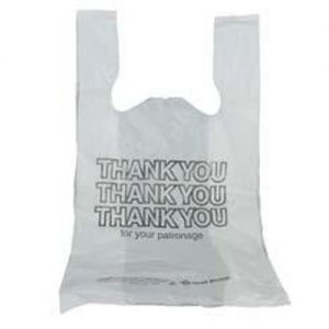 Thank You T-shirt Bag, 11 x 7 x 21 White, Case of 1000