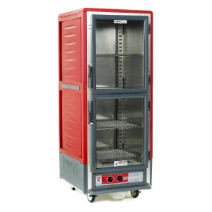 Metro C539-HLDC-S C5 3 Series Insulated Holding Cabinet, Full Height, Dutch Clear Doors, 4 Adjustable Wire Shelves, 120V, 60Hz, 1440W, Red