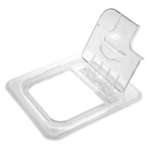 Camwear 1/6 Size Clear Food Pan Cover - Notched FlipLid, Case of 6
