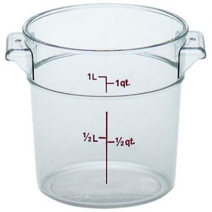 Round Food Storage Container, 1 Qt. Clear Poly