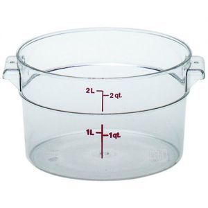 Round Food Storage Container, 2 Qt. Clear Poly