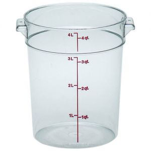 Round Food Storage Container, 4 Qt. Clear Poly