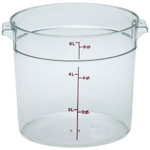 Round Food Storage Container, 6 Qt. Clear Poly