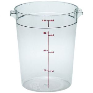 Round Food Storage Container, 8 Qt. Clear Poly