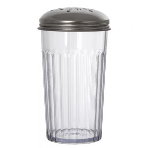 12 Oz SAN Plastic Cheese Shaker with Perforated Top - Clear