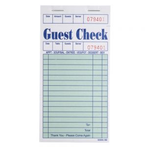 "Choice GC36161BK Single Detachable Guest Check - 3.5"" x 6.75"" (Pack of 10)"