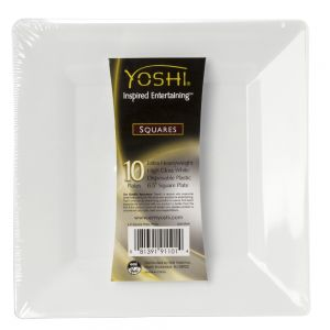 "EMI Yoshi SP6W 6.5"" White Square Plate - Pack of 10"