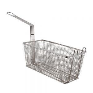 "FMP 225-1060 Twin Fryer Basket with Front Hook - 13-1/4"" x 6-1/2"" x 5-1/2"""