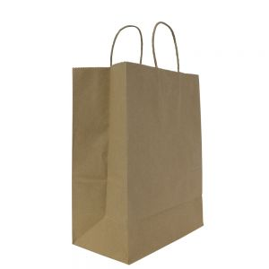 Kraft Paper To-Go Bag with Handles 9.6 W x 13.4 H x 5.3 D (Case of 250)