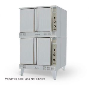 SunFire Double Deck Gas Convection Oven with 2 Speed Fan, Windows and Interior Light
