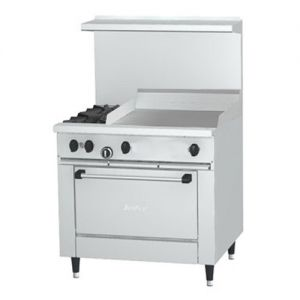 Restaurant Range, 2 Burner, 24 Inch Griddle, 1 Oven, 36 Inches