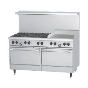 Restaurant Range, 6 Burner, 24 Inch Griddle, 2 Oven, 60 Inches