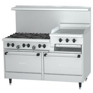 Restaurant Range, 6 Burner, 24 Inch Raised Griddle-Broiler, 2 Oven, 60 Inches