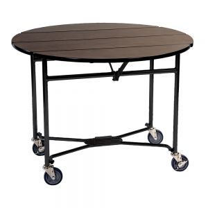 Space Saver 40 Inch Round Walnut Woodgrain Laminate Room Service Table with Bi-Fold Leaves and Folding Frame