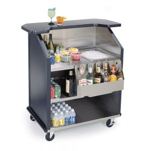 Stainless Steel / Laminate Portable Beverage Bar with 40-Pound Ice Storage and 7-Bottle Speed Rail