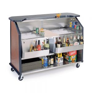 Stainless Steel / Laminate Portable Beverage Bar with 80-Pound Ice Storage and 14-Bottle Speed Rail