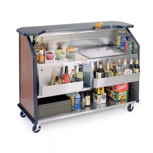Stainless Steel / Laminate Portable Beverage Bar with 40-Pound Ice Storage and 14-Bottle Speed Rail