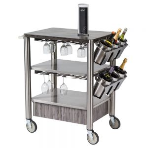 Stainless Steel Wine Cart with 3 Shelves, Bottle and Stemware Storage