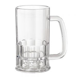 12 Oz Clear Plastic Beer Mug - 24/Case